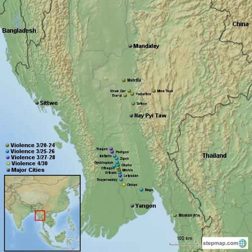 Conflict in Myanmar March-April Topo