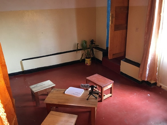 An interview room in Kavumu for recording survivor testimonies to be entered as evidence in the upcoming trial.   PHR Photo